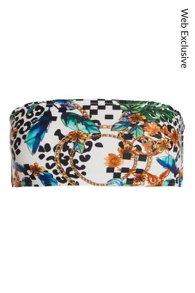 White Leopard Print Bikini Top
